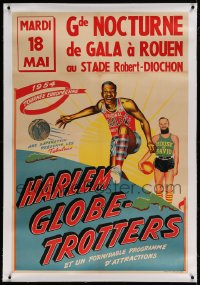 7p068 HARLEM GLOBETROTTERS linen French 31x46 1954 the famous basketball team performing in France!
