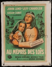 7p260 BATTLE AT APACHE PASS linen French 24x32 R1950s art of Jeff Chandler as Cochise & Susan Cabot
