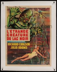 7p261 CREATURE FROM THE BLACK LAGOON linen French 24x31 R1962 art of monster looming over Julia Adams!