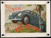 7p137 DEIN KDF-WAGEN linen German 10x15 board game cover 1940 great art of Volkswagen Beetle!