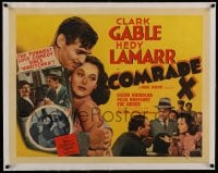 7p105 COMRADE X linen 1/2sh 1940 different image of Communist Hedy Lamarr & Clark Gable, utlra rare