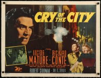 7p106 CRY OF THE CITY linen 1/2sh 1948 film noir, Victor Mature, Richard Conte, Shelley Winters