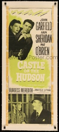 7p118 CASTLE ON THE HUDSON linen insert R1949 Ann Sheridan, John Garfield with gun, Pat O'Brien!