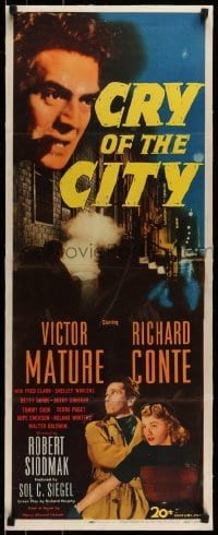 7p119 CRY OF THE CITY linen insert 1948 film noir, Victor Mature, Richard Conte, Shelley Winters