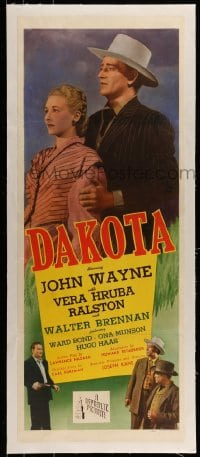 7p120 DAKOTA linen insert 1945 John Wayne & Vera Ralston in a romantic spectacle of the West, rare!