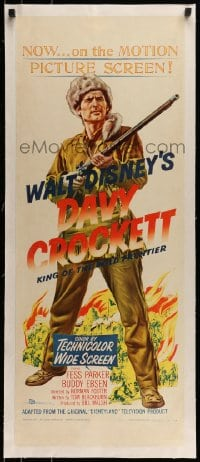 7p121 DAVY CROCKETT, KING OF THE WILD FRONTIER linen insert 1955 Disney, classic art of Fess Parker