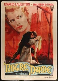 7p072 HUNCHBACK OF NOTRE DAME linen Italian 2p R1953 great Olivetti art of Laughton & O'Hara, rare!
