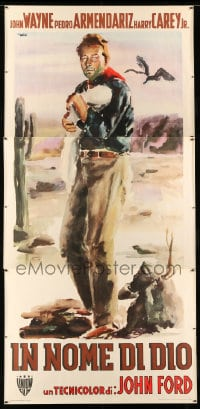 7p017 3 GODFATHERS Italian 3p 1950 John Wayne in Ford's Legend of the Southwest, Brini art, rare!