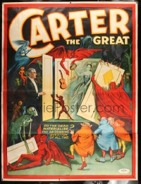 7p086 CARTER THE GREAT linen 80x106 magic poster 1926 cool devil art, do the dead materialize?