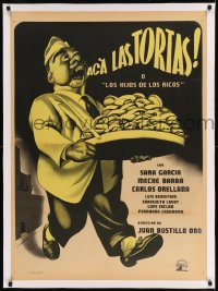 7p217 ACA LAS TORTAS linen Mexican poster 1951 Ernesto Garcia Cabral art of man with bakery goods!