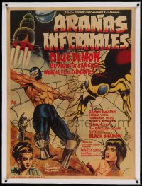 7p218 ARANAS INFERNALES linen Mexican poster 1968 Ocana art of masked wrestler in huge spider web!