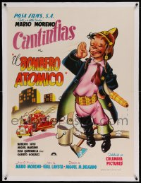 7p220 EL BOMBERO ATOMICO linen Mexican poster 1952 great cartoon art of firefighter Cantinflas!