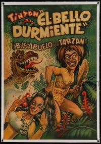 7p189 EL BELLO DURMIENTE linen Spanish 1952 Cabral art of caveman Tin-Tan, great granddad of Tarzan, rare!
