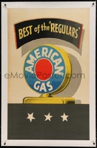 7p146 AMERICAN GAS linen 26x43 advertising poster 1950 Lucian Bernhard art, Best of the Regulars!
