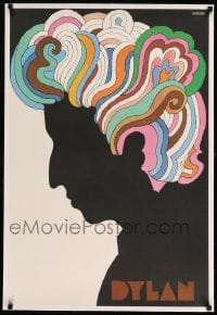 7p141 DYLAN linen 22x33 album insert poster 1967 colorful silhouette art of Bob by Milton Glaser!