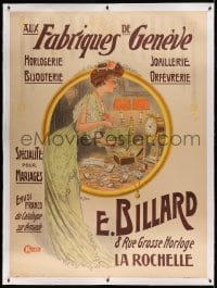 7p092 E. BILLARD linen 46x62 French advertising poster 1890s Raoul Hem art of rich woman & jewelry!