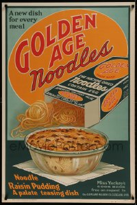 7p028 GOLDEN AGE NOODLES 28x42 advertising poster 1935 noodle raisin pudding, palate teasing dish!