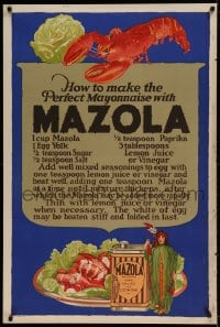 7p031 MAZOLA 28x42 advertising poster 1930s a great recipe to make the perfect mayonnaise!