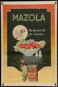 7p032 MAZOLA 28x42 advertising poster 1930s it makes the perfect oil to put on your salads!