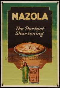7p030 MAZOLA 28x41 advertising poster 1935 it makes the perfect shortening for pie crust!