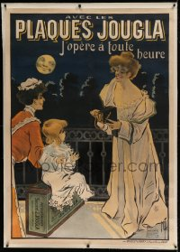 7p094 PLAQUES JOUGLA linen 36x51 French advertising poster 1904 Misti art of photographer & girl!