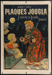 7p095 PLAQUES JOUGLA linen 37x52 French advertising poster 1904 Oge art of photographer & boy!