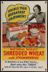 7p033 SHREDDED WHEAT 28x42 advertising poster 1930s double your breakfast enjoyment, NBC radio!