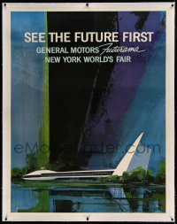7p096 1964 NEW YORK WORLD'S FAIR linen 39x50 World's Fair poster 1964 General Motors Futurama, rare!