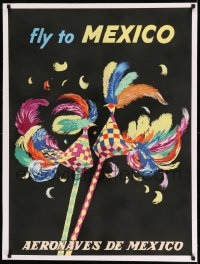 7p149 AERONAVES DE MEXICO MEXICO linen 27x37 Mexican travel poster 1960s colorful art of paper birds!