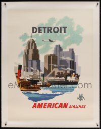 7p097 AMERICAN AIRLINES DETROIT linen 30x40 travel poster 1950s art of plane over city by Bern Hill
