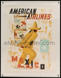 7p098 AMERICAN AIRLINES MEXICO linen 30x40 travel poster 1948 art by Edward McKnight Kauffer!