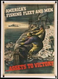 7p161 AMERICA'S FISHING FLEET & MEN linen 20x28 WWII war poster 1943 Henry Koerner art of fishermen!