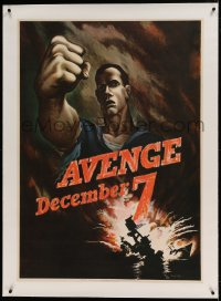 7p162 AVENGE DECEMBER 7 linen 29x40 WWII war poster 1942 attack on Pearl Harbor, Bernard Perlin art