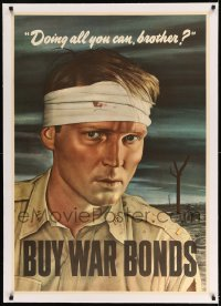 7p164 DOING ALL YOU CAN BROTHER linen 29x41 WWII war poster 1943 Sloan art of wounded soldier!