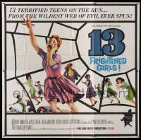7t011 13 FRIGHTENED GIRLS 6sh 1963 William Castle, art of screaming women in spider web!