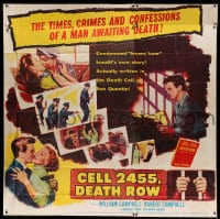7t028 CELL 2455 DEATH ROW 6sh 1955 biography of Caryl Chessman, no. 1 condemned convict!