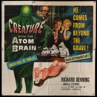 7t032 CREATURE WITH THE ATOM BRAIN 6sh 1955 art of dead man who comes from beyond the grave, rare!