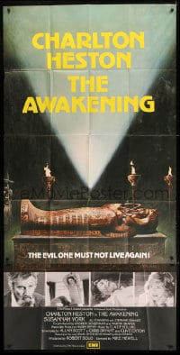 7t002 AWAKENING English 3sh 1980 Charlton Heston, completely different image of sarcophagus!