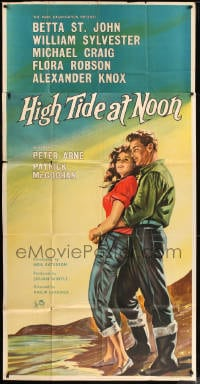 7t003 HIGH TIDE AT NOON English 3sh 1957 art of Betta St. John & William Sylvester on the beach!
