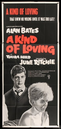 7t004 KIND OF LOVING English 3sh 1962 Schlesinger, their love knew no wrong until it was too late!