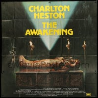 7t006 AWAKENING English 6sh 1980 best art of the Egyptian mummy sarcophagus in tomb, rare & different!