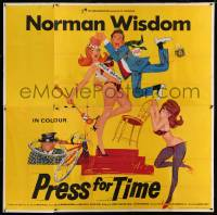 7t010 PRESS FOR TIME English 6sh 1966 great wacky art of Norman Wisdom chased by sexy girls!