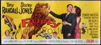 7w001 FLUFFY 24sh 1965 great art of huge lion & Tony Randall with pretty Shirley Jones!