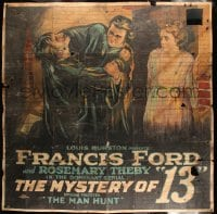 7w003 MYSTERY OF 13 chapter 14 6sh 1920 Francis Ford serial, action-packed art, The Man Hunt, rare!