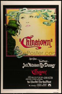 7w025 CHINATOWN 1sh 1974 art of Jack Nicholson & Faye Dunaway by Jim Pearsall, Polanski