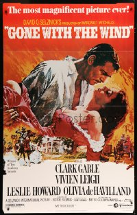 7w008 GONE WITH THE WIND 36x58 standee R1980 Clark Gable, Vivien Leigh, Howard, de Havilland, classic!
