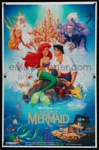7w009 LITTLE MERMAID 26x40 standee 1989 great art of Ariel & cast, Disney underwater cartoon!