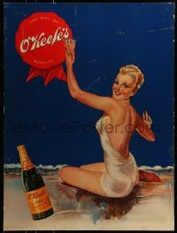 7w010 O'KEEFE'S DRY GINGER ALE Canadian standee 1930 beautiful woman & full glass by Ted McCormick