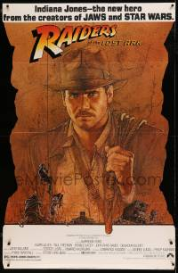 7w011 RAIDERS OF THE LOST ARK die-cut standee 1981 great art of adventurer Harrison Ford by Amsel!