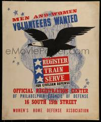 7w039 MEN & WOMEN VOLUNTEERS WANTED 18x22 WWII war poster 1941 register for civilian defense!